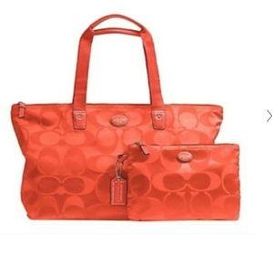 Coach Nylon Packable Weekender Bag - RED ❤